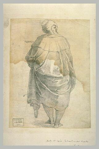 Homme debout, drapé, de dos, tournant la tête vers la droite