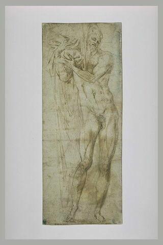 Homme nu, coiffé d'une draperie massée sur l'épaule et tombante