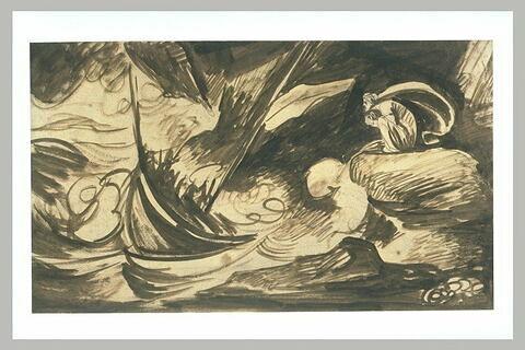 La sorcière de Laponie observant un naufrage dans la tempête