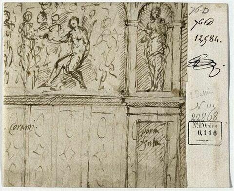 Fragment de décoration avec fragment d'une scène avec 'Le Jugement de Parîs' et une figure dans une niche sur un socle