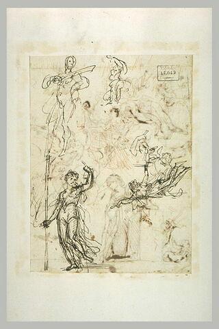 Homme tenant un sabre ; femme tenant une lance ; ange de l'annonciation