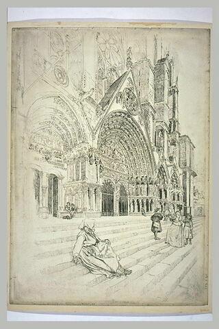 La cathédrale de Bourges : la porte centrale du portail occidental