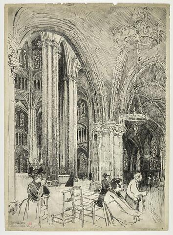 La cathédrale de Bourges : l'abside, les fenêtres hautes et le triforium