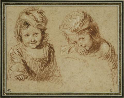 Deux études d'un jeune enfant coiffé d'un bonnet