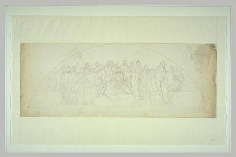Louis XIV assis entouré de courtisans et d'artistes