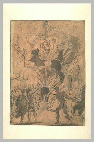 Guerriers sur un navire dominant un tonneau en feu, entourés d'une foule