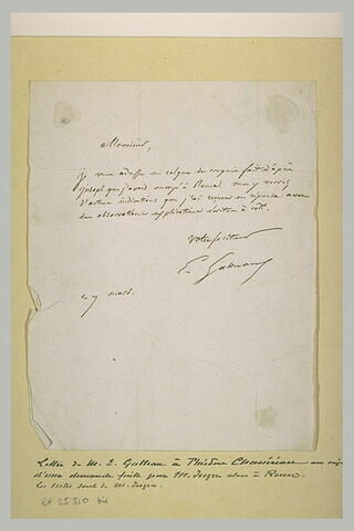 Lettre manuscrite de E. Gatteaux à Th. Chasseriau