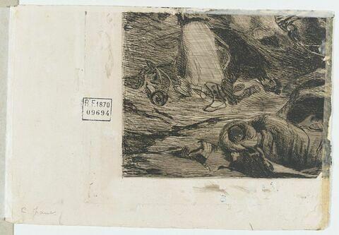 Fragment d'eau-forte avec des cadavres d'hommes et de chevaux