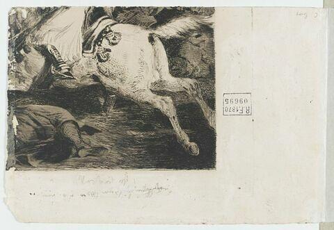 Fragment d'eau-forte, avec un cheval et un cadavre