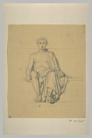 homme assis sur des marches, vu de face : Apelles