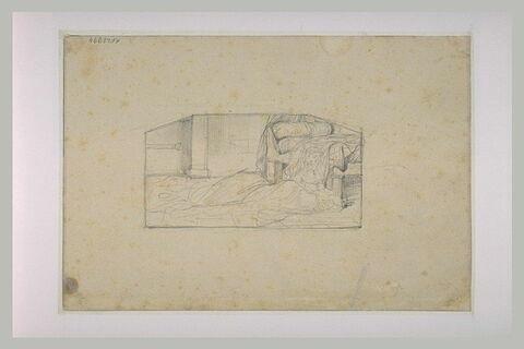 Figure prosternée dans une chambre devant la Sainte Face