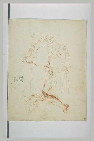 Etude de deux hommes en robe et capuchon et d'un homme nu