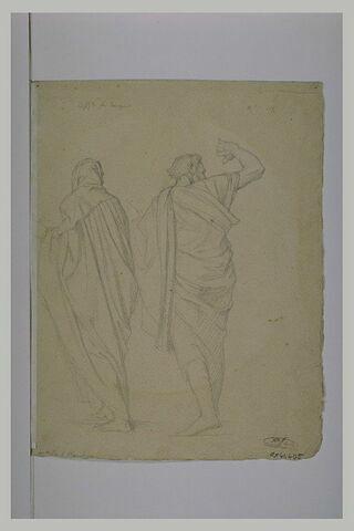 Deux hommes drapés, de dos