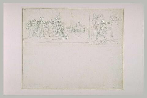 Groupe de figure devant une forteresse ; homme assis devant des figures