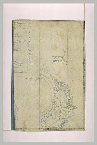 Dauphin et amour entourant un médailon ; annotation manuscrites