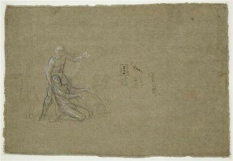 Femme à genoux soutenue par un homme debout