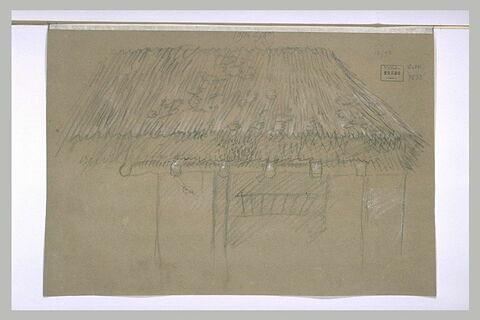 Elévation d'une étable couverte d'un toit de chaume