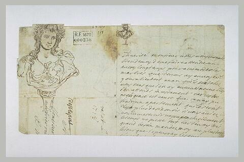 Buste sculpté et texte manuscrit
