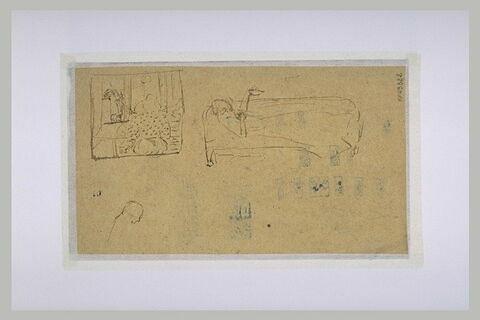 Femme étendue sur un canapé, et femme de dos, dans un intérieur