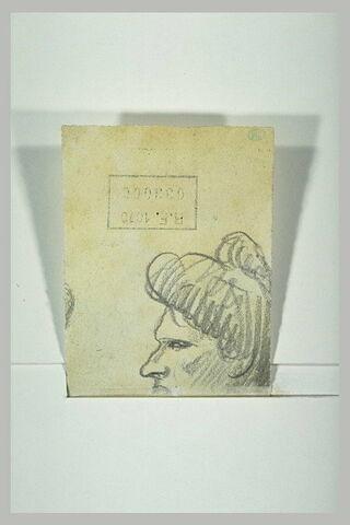 Profil d'un visage de femme coiffée d'un chignon