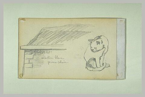 Croquis d'un chat assis et d'un pan de mur couronné d'une toiture