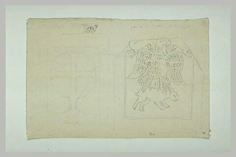 Athènes, motifs décoratifs et croix provenant du palais épiscopal d'Athènes