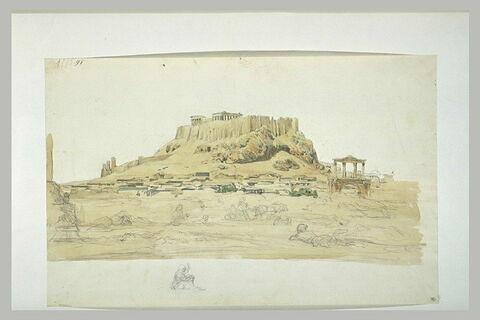 Athènes, l'Acropole vue de la colline de L'Olympéion