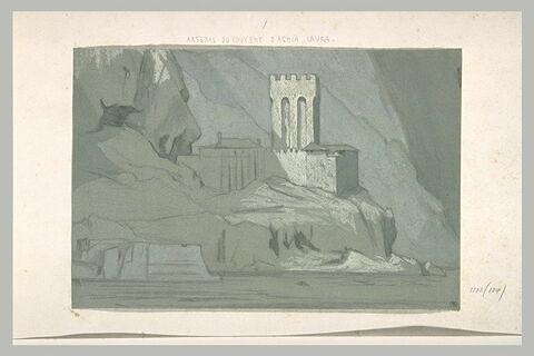 Mont Athos, débarcadère et Pyrgos près de la Grande Lavra
