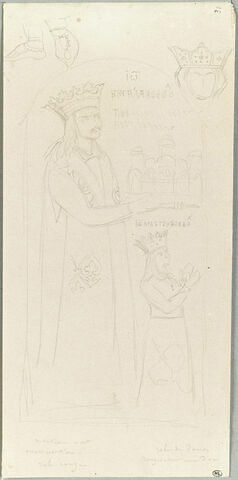 Mont Athos, monastère de la Grande Lavra, croquis d'une fresque de l'église