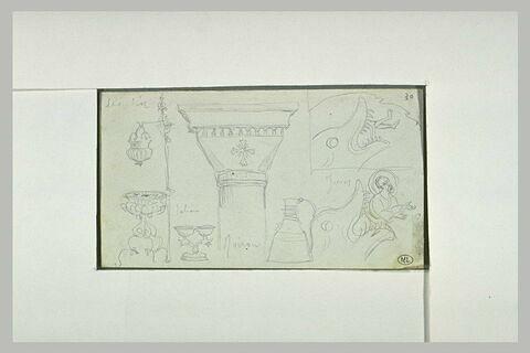 Mont Athos, couvent d'Iviron, détails d'architecture, peinture et mobilier