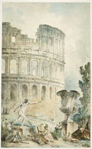 Caprice architectural avec le Gladiateur Borghèse, le vase Borghèse et le Colisée