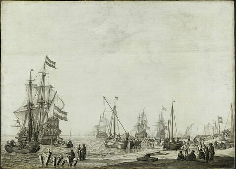 Flotte de guerre près d'un rivage