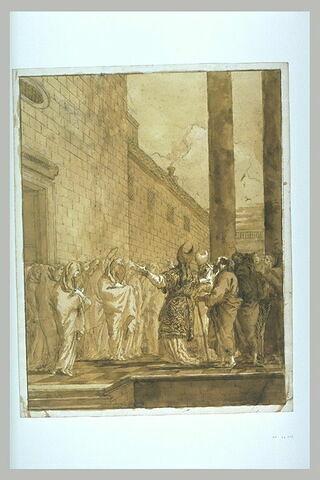 La Vierge entourée de saintes femmes sur le parvis d'un temple