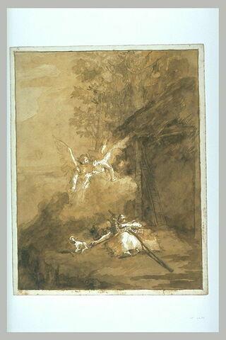 Jean Baptiste allongé sur le sol avec des anges