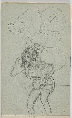 Figure à vélo ; Figure debout, portant la main à son visage
