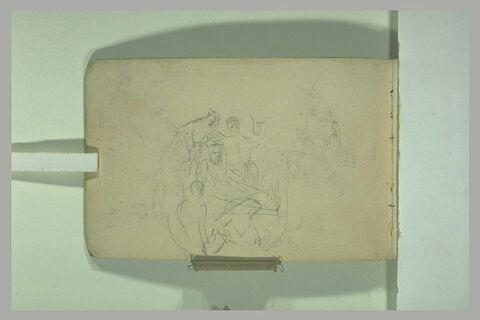 Croquis d'après un sculpture médiévale : 'Déploration du Christ mort ?'