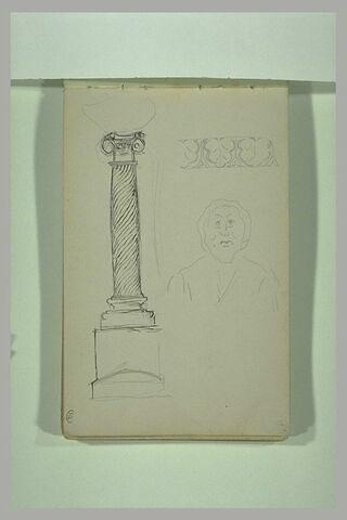 Croquis d'une colonne au fût torsadé et d'éléments sculptés
