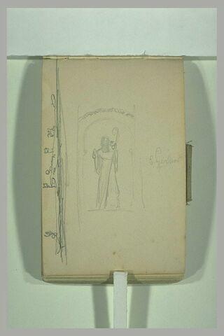 Coupe d'un décor sculpté et statue dans une niche