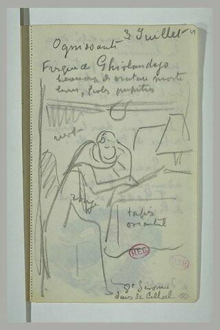 Saint Jérôme dans sa cellule et notes manuscrites