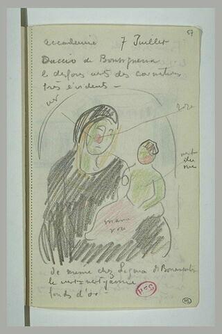 Vierge à l'Enfant et notes manuscrites