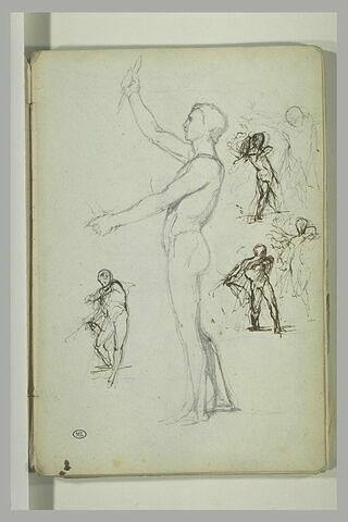 Homme nu, debout, de profil, et autres figures