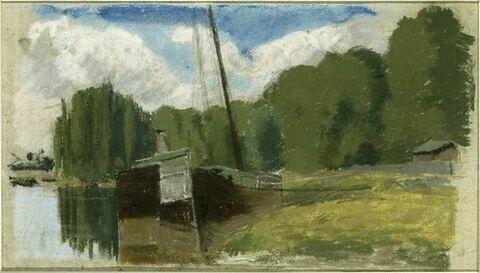 Péniche au bord de l'Oise, Pontoise
