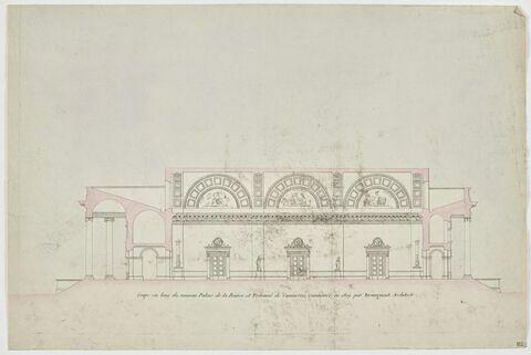 Paris, Palais impérial de la Bourse : coupe longitudinale