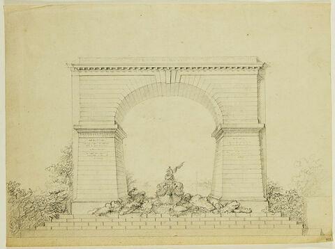 Trompe-l'oeil de jardin : arc de triomphe, rochers, fontaine, groupe sculpté