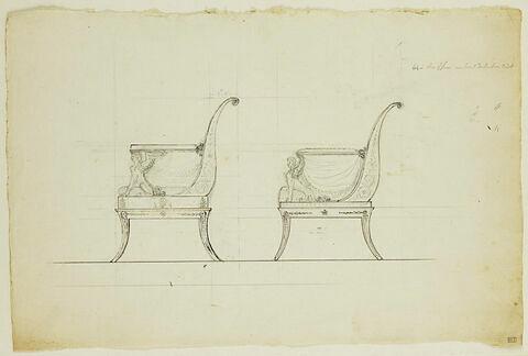 Projet de chaise avec draperies et sphinge : élévations