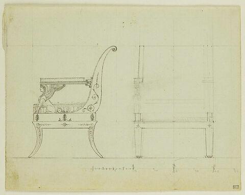 Projet de chaise avec sphinge : élévations