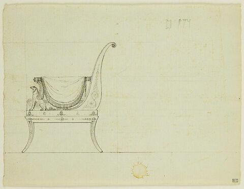Projet de chaise avec draperies et griffon : élévation