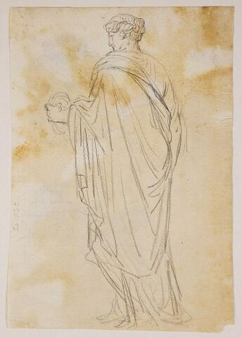Femme drapée, de dos, tournée vers la gauche