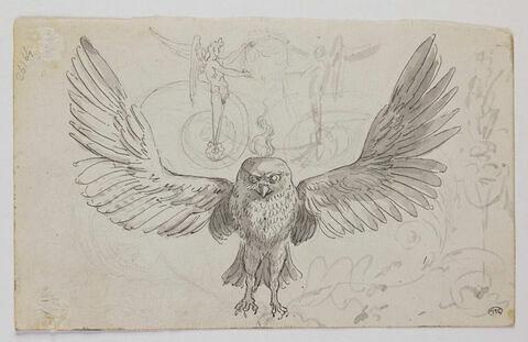 Hibou, ailes déployées, entouré de lauriers et d'arabesques