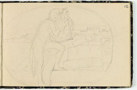 Jeune homme nu, jouant de la lyre devant Thèbes